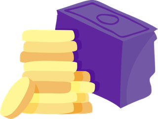 Stack of purple notes and yellow coins