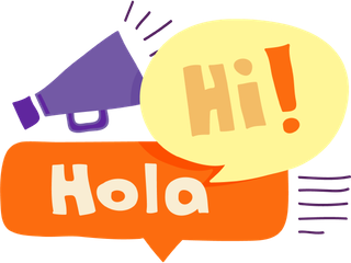 Hola and Hi speech bubbles with megaphone