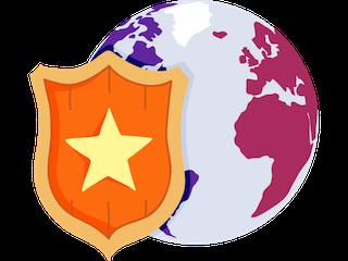 Orange shield in front of globe
