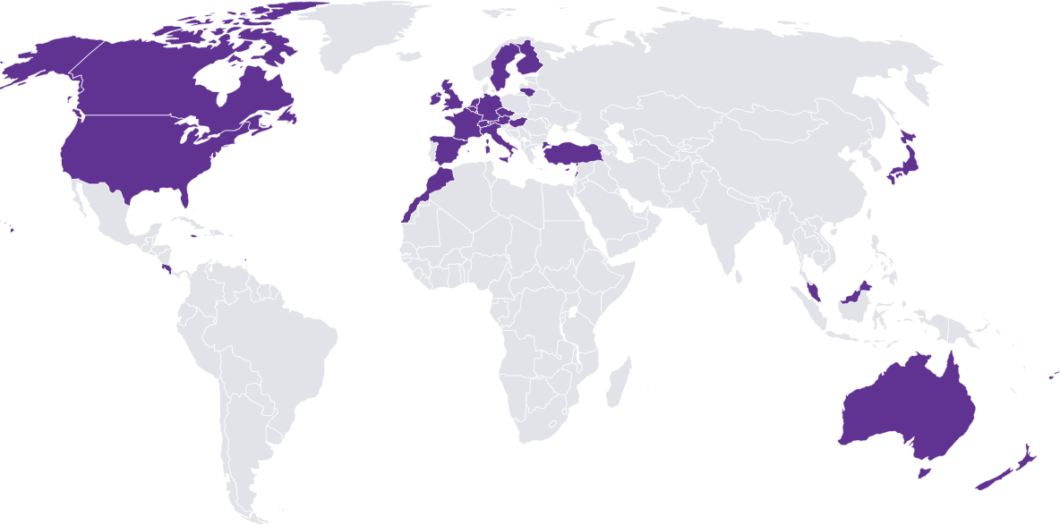 A world map showing where students can study abroad with Studee
