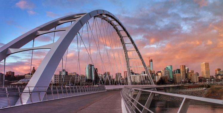 A bridge into Edmonton with skyscrapers