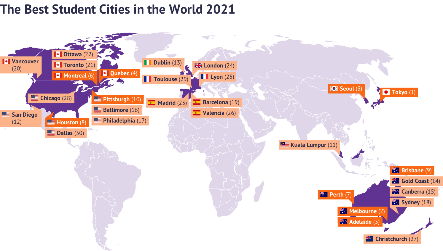 Map of the best student cities in the world