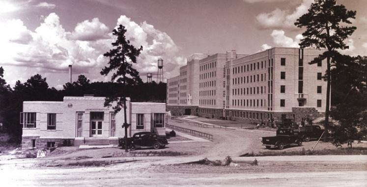Black and white old fashioned photo of Arizona state University
