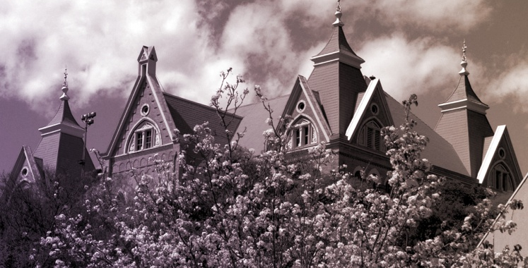 Black and white old fashioned photo of University of Vermont