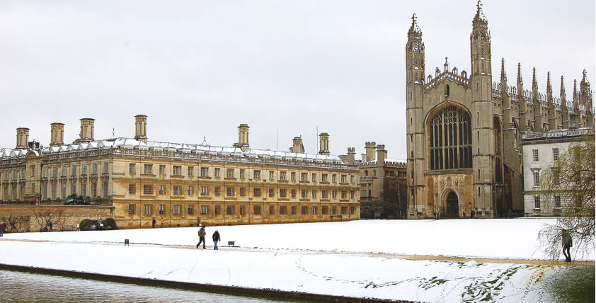 The University of Cambridge in the snow