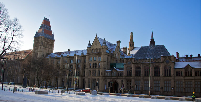 Universtiy of Manchester in the snow