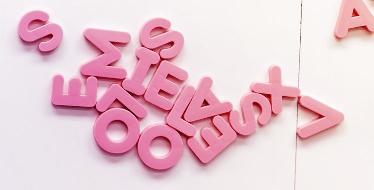 a mix of jumbled letters